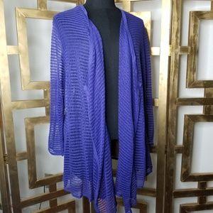 Chicos Purple Stripe Lightweight Wrap Sweater 3